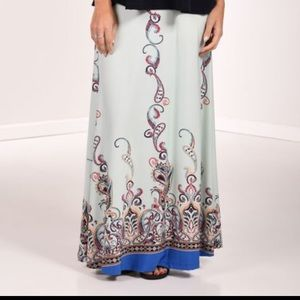 Lbisse Zuilily teal paisley maxi skirt plus size